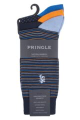 Mens 3 Pair Pringle Black Label Fine Stripe and Dots Bamboo Socks Packaging Image