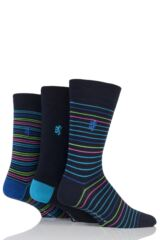 Mens 3 Pair Pringle of Scotland Fine Stripe Bamboo Socks