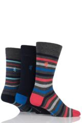 Mens 3 Pair Pringle of Scotland Mixed Stripe and Plain Bamboo Socks