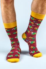 Mens 1 Pair Moustard Mardi Gras Cotton Socks Leading Image