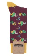 Mens 1 Pair Moustard Mardi Gras Cotton Socks Packaging Image