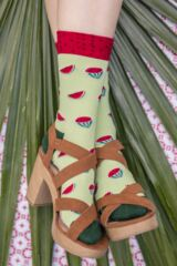 Ladies 1 Pair Moustard Fruit Design Socks - Watermelon Leading Image