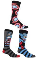 Mens 3 Pair SockShop Marvel Captain America Mix Cotton Socks