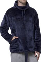 Mens SockShop Heat Holders Snugover Fleece Jumper In Navy