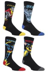 Mens 4 Pair SockShop Marvel X-Men Wolverine, Beast, Cyclops and Colossus Cotton Socks