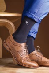 Mens 1 Pair SOCKSHOP New Individual Embroidered Initial Socks - P-T Leading Image