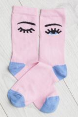 Ladies 2 Pair Missguided Eye and Stripe Cotton Socks Leading Image