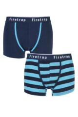 Mens 2 Pack Firetrap Plain and Block Striped Cotton Boxer Shorts 25% OFF