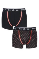Mens 2 Pack Firetrap Plain and Cross Dot Cotton Boxer Shorts