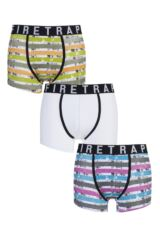 Mens 3 Pack Firetrap Distressed Pastel, Plain and Striped Boxer Shorts