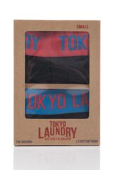 Mens 2 Pack Tokyo Laundry Harden Combed Cotton Plain Buttoned Boxer Shorts Packaging Image
