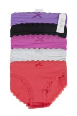 Ladies 5 Pack Tokyo Laundry Perry Cotton Laced Trim Briefs Product Shot