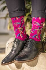 Mens 1 Pair Pantherella Tuvalu Cotton Lisle Floral Socks Leading Image