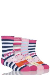 Girls 4 Pair TM Peppa Pig Slipper Socks