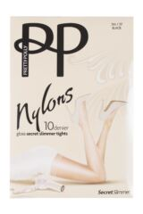 Ladies 1 Pair Pretty Polly Nylons 10 Denier Glossy Secret Slimmer Tights Product Shot