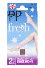 Ladies 2 Pair Pretty Polly Everyday Silver Fresh Support Knee Highs Product Shot