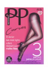 Ladies 3 Pair Pretty Polly Curves 15 Denier Ladder Resist Tights Packaging Image