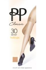 Ladies 1 Pair Pretty Polly 30 Denier 100% Nylon Smooth Semi Sheer Hold Ups Product Shot