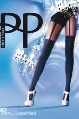 Ladies 1 Pair Pretty Polly Mock Suspender Tights Product Shot