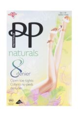 Ladies 1 Pair Pretty Polly Naturals 8 Denier Open Toe Tights Packaging Image