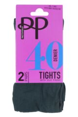 Ladies 2 Pair Pretty Polly 40 Denier Opaque Tights Packaging Image