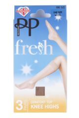 Ladies 3 Pair Pretty Polly Everyday Silver Fresh Knee Highs Packaging Image