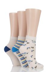 Ladies 3 Pair SockShop Insect Patterned Bamboo Socks