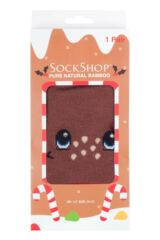 Mens and Ladies SockShop 1 Pair Lazy Panda Bamboo Rudolph Christmas Gift Boxed Socks Packaging Image