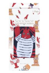 Mens and Ladies SOCKSHOP 1 Pair Lazy Panda Bamboo Lobster Gift Boxed Socks Packaging Image