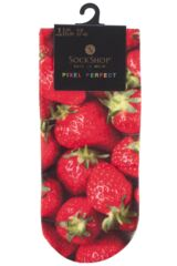 Ladies 1 Pair SockShop Dare to Wear Pixel Perfect Strawberries Printed Socks 75% OFF Packaging Image