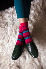 Ladies 3 Pair SOCKSHOP Gentle Bamboo Socks with Smooth Toe Seams in Plains and Stripes Leading Image