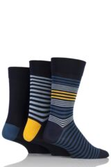 Mens 3 Pair SockShop Comfort Cuff Bamboo Striped and Plain Socks