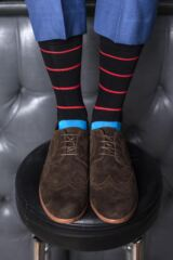 Mens 3 Pair SockShop Comfort Cuff Gentle Bamboo Striped and Plain Socks with Smooth Toe Seams Leading Image