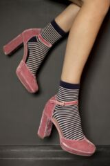 Ladies 3 Pair SOCKSHOP Velvet Soft Floral Stripe and Plain Socks Leading Image
