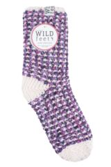 Ladies 1 Pair SOCKSHOP Wild Feet Fleece Lined Slipper Socks Packaging Image