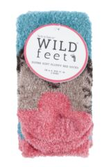 Ladies 2 Pair SockShop Wild Feet Hedgehog Fluffy Cosy Socks Packaging Image