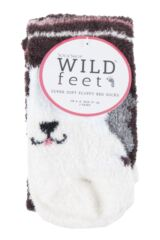 Ladies 2 Pair SockShop Wild Feet Sheepdog Fluffy Cosy Socks Packaging Image