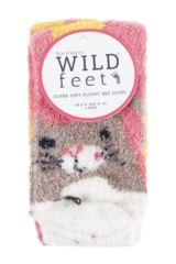 Ladies 2 Pair SockShop Wild Feet Cat Fluffy Cosy Socks Packaging Image
