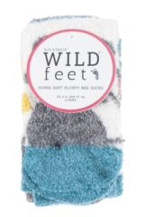 Ladies 2 Pair SockShop Wild Feet Mouse Fluffy Cosy Socks Packaging Image