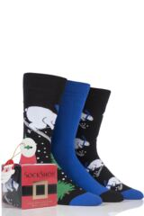 Mens 3 Pair SockShop Just For Fun Skiing Polar Bear Novelty Cotton Socks In Gift Box