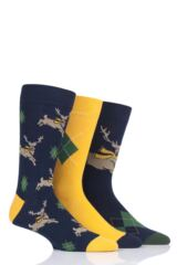 Mens 3 Pair SockShop Wild Feet Gift Boxed Stag Cotton Socks Leading Image