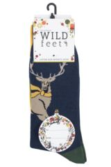 Mens 3 Pair SockShop Wild Feet Stag Cotton Socks Packaging Image