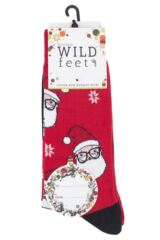 Mens 3 Pair SockShop Wild Feet Santa Glasses Cotton Socks Packaging Image