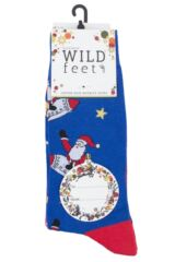 Mens 3 Pair SockShop Wild Feet Santa Rocket Cotton Socks Packaging Image