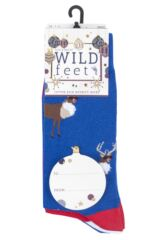 Mens 3 Pair SOCKSHOP Wild Feet Rudolph Bauble Christmas Novelty Cotton Socks Packaging Image