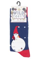 Mens 3 Pair SOCKSHOP Wild Feet Gnome Santa Christmas Novelty Cotton Socks Packaging Image