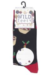 Mens 3 Pair SOCKSHOP Wild Feet Mince Pies Christmas Novelty Cotton Socks Packaging Image
