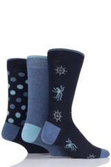 Mens 3 Pair SockShop Just For Fun Octopus Cotton Socks