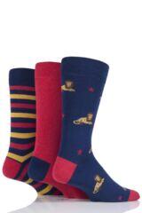 Mens 3 Pair SockShop Just For Fun Lion Cotton Socks