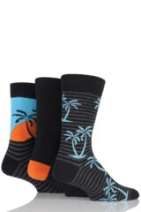 Mens 3 Pair SockShop Just For Fun Palm Tree Novelty Cotton Socks
